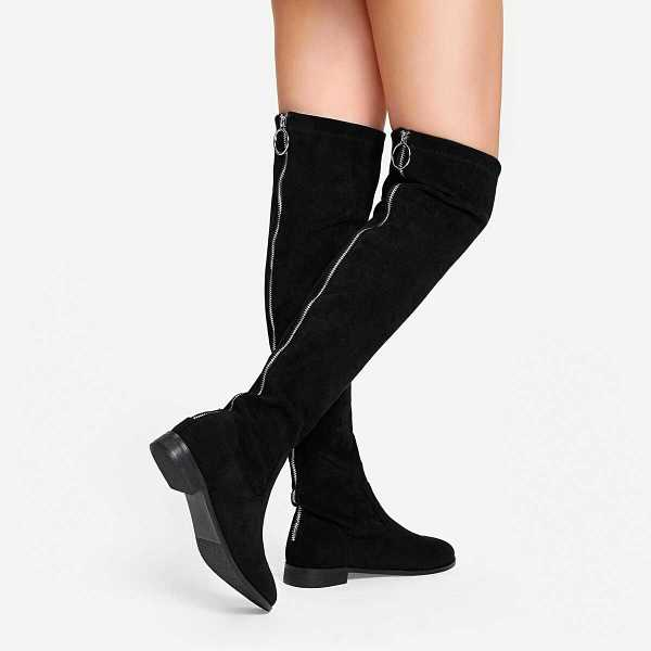 Solid Suede Knee Length Boots - Shein - GOOFASH