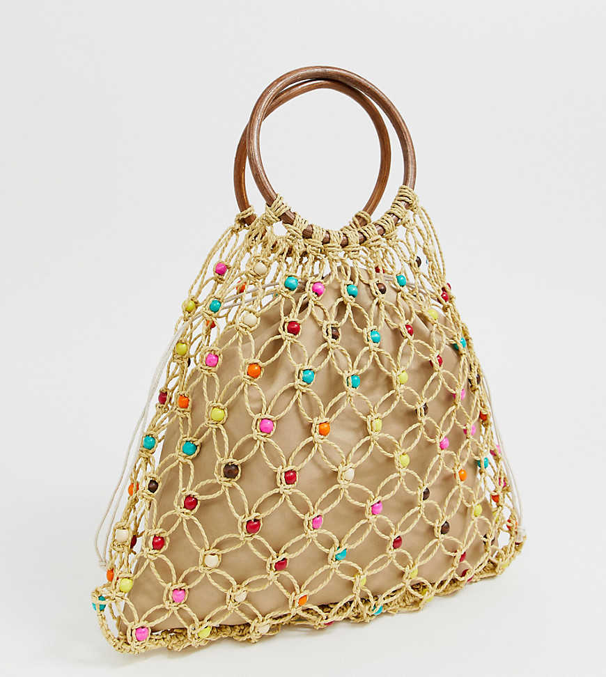 South Beach Exclusive natural beaded bag with wooden handle and bright beads - Beige - Asos - GOOFASH