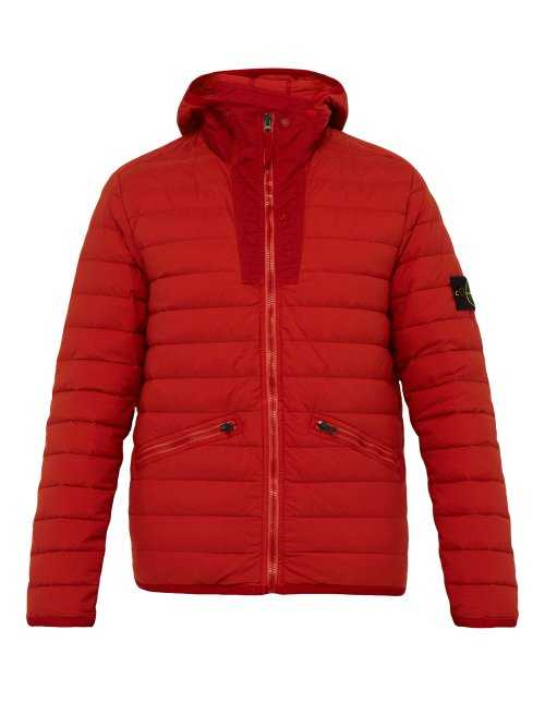 Stone Island - Quilted Down Filled Hooded Coat - Burgundy Burgundy - Matches Fashion - GOOFASH