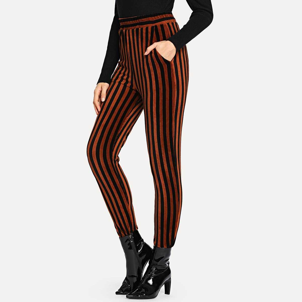 Striped Print Pants - Shein - GOOFASH