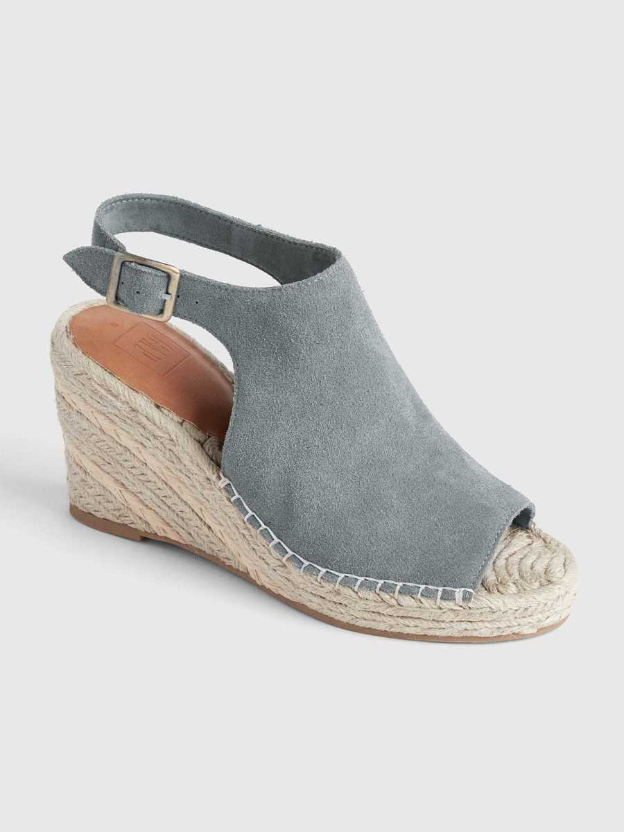 Suede Espadrille Wedges Soft Green - Gap - GOOFASH