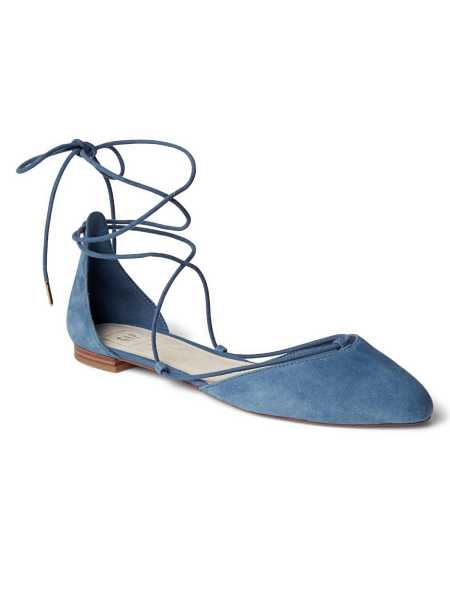 Suede lace-up d';Orsay flats Blue Jean - Gap - GOOFASH