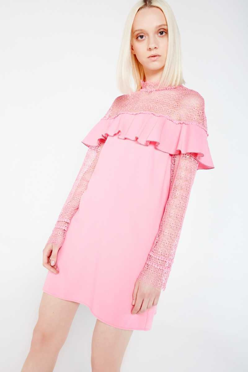 Sugar & Lips Long Sleeve Lace Mini Dress With Ruffle Detail Size: - Own The Look - GOOFASH