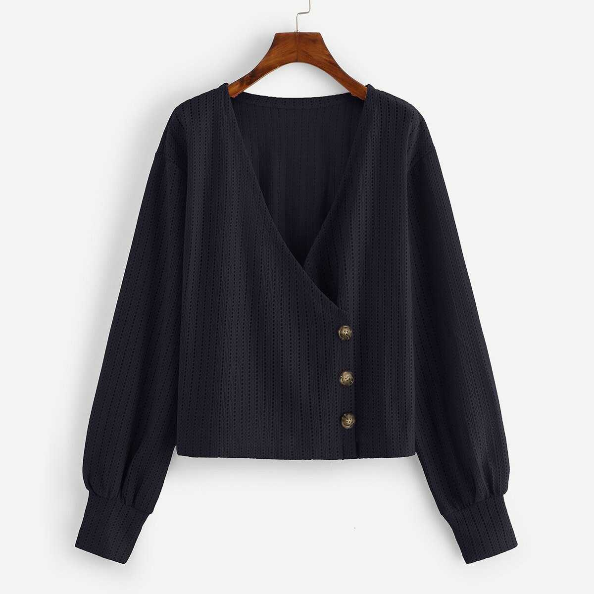 Surplice Front Solid Blouse - Shein - GOOFASH