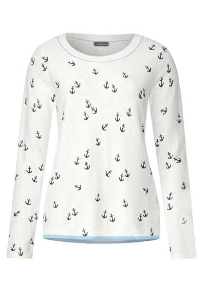 Sweater with anchor print - off white - Street One - GOOFASH