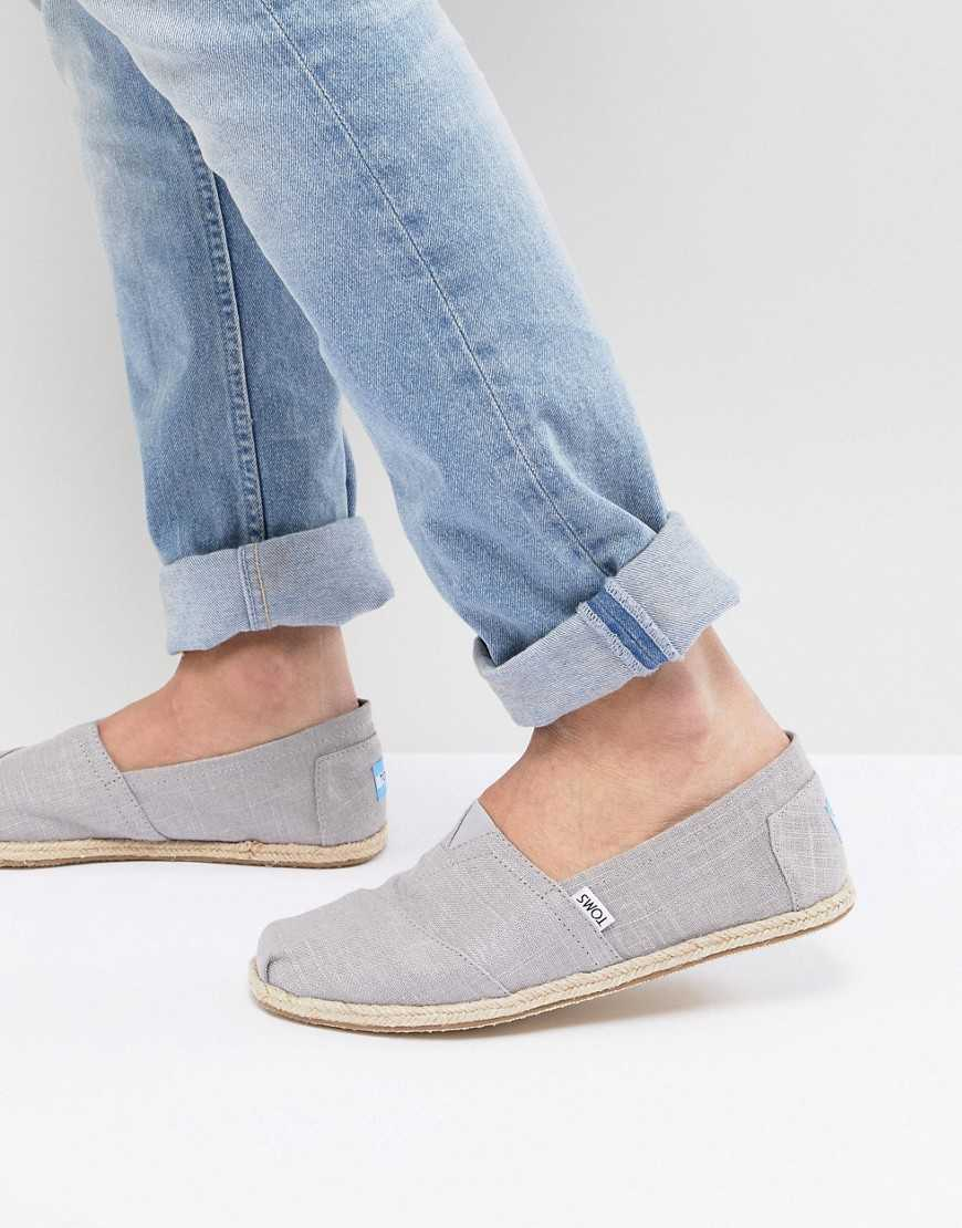 TOMS espadrilles in gray linen with rope detail - Gray - Asos - GOOFASH