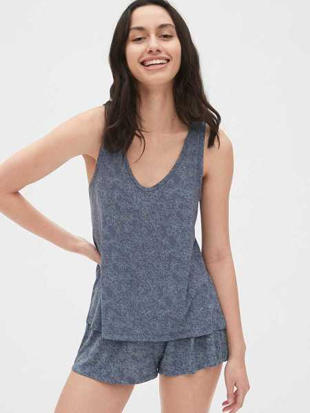 Tank Top in Modal Blue Floral - Gap - GOOFASH