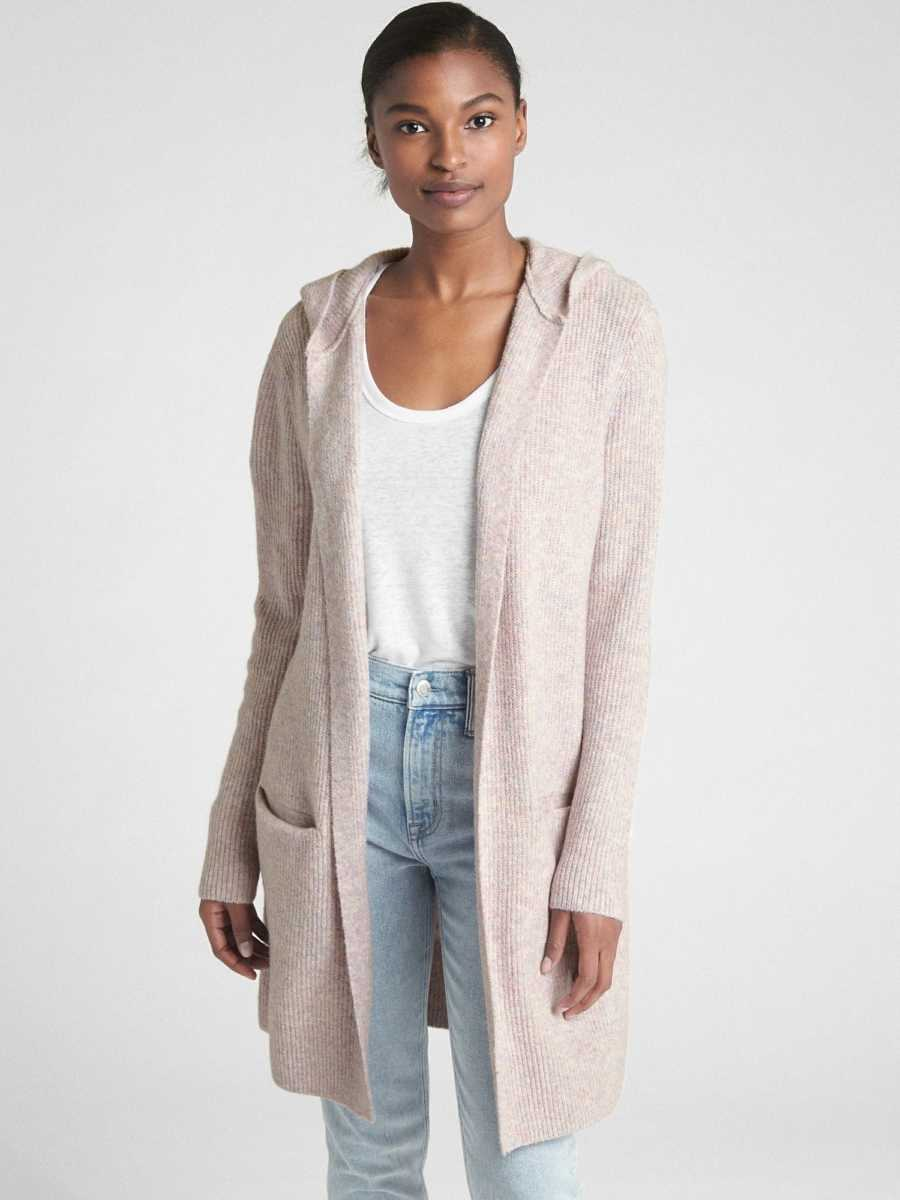 Textured Open-Front Hooded Cardigan Sweater Lavender - Gap - GOOFASH