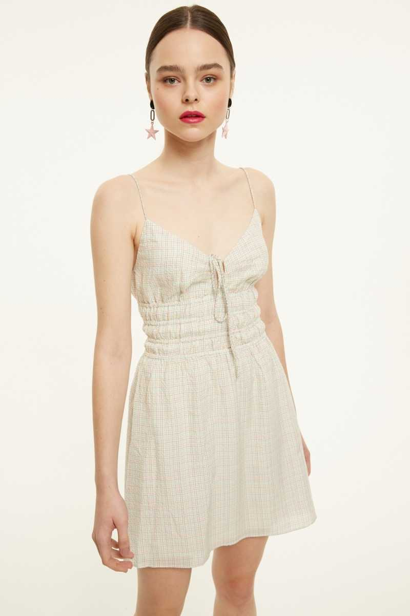 The East Order Check Mini Dress With Shirred Waist - Own The Look - GOOFASH