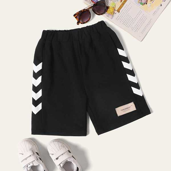 Toddler Boys Chevron Print Patched Shorts - Shein - GOOFASH
