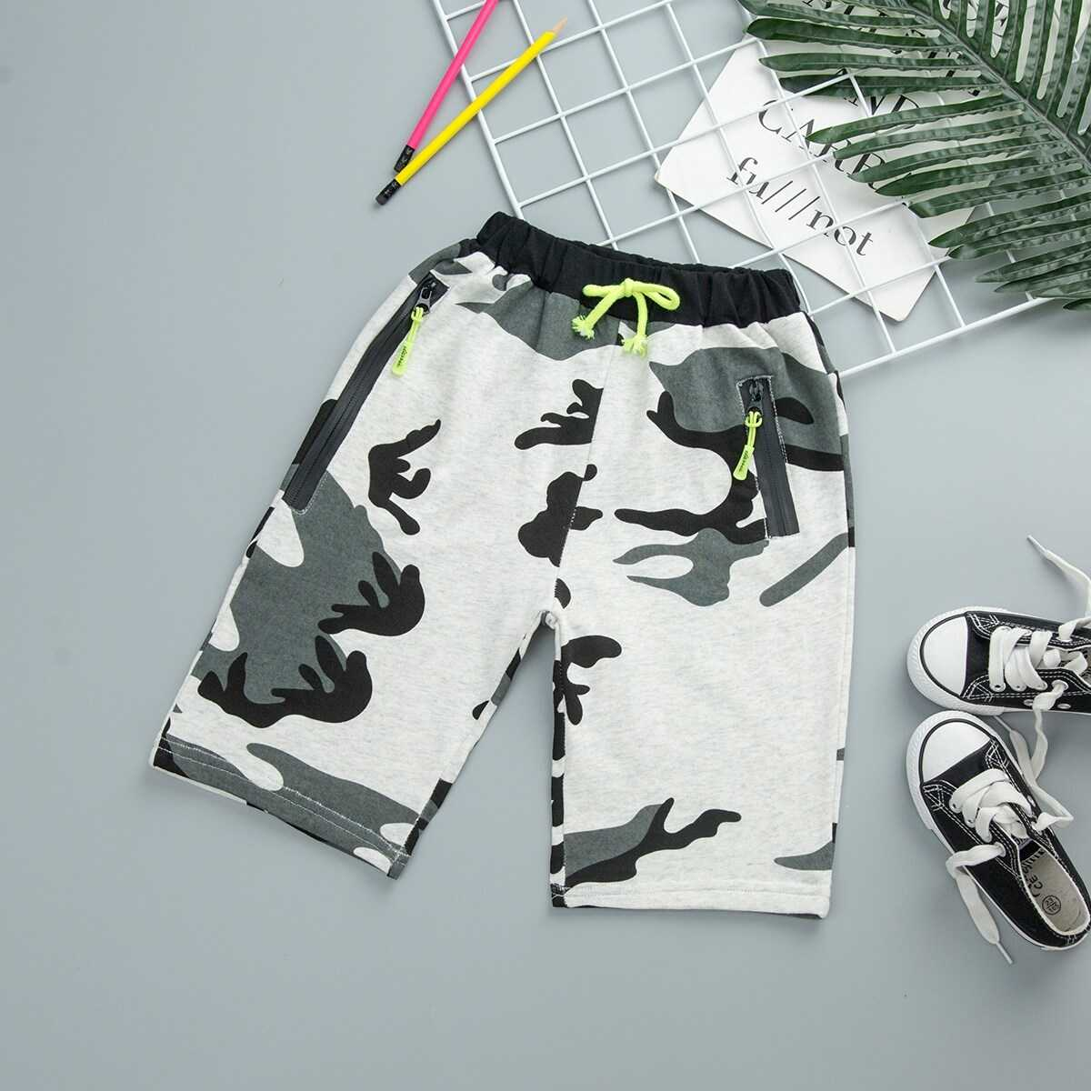 Toddler Boys Drawstring Waist Camo Shorts - Shein - GOOFASH