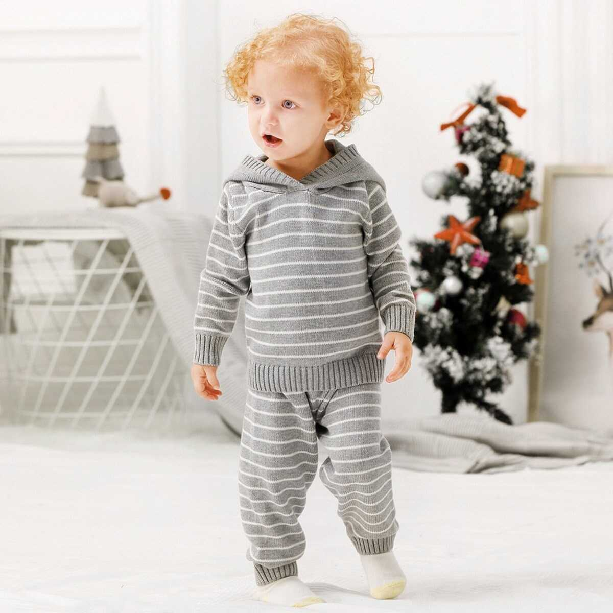 Toddler Boys Striped Hooded Knit Top With Pants - Shein - GOOFASH