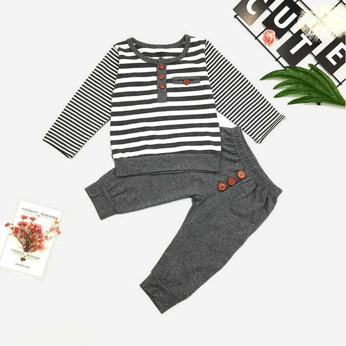 Toddler Boys Striped Top With Pants - Shein - GOOFASH