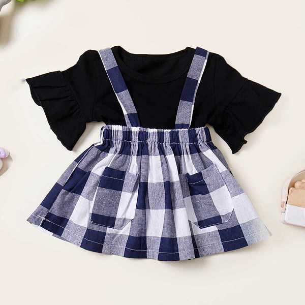 Toddler Girls Flounce Sleeve Tee With Pinafore Skirt - Shein - GOOFASH
