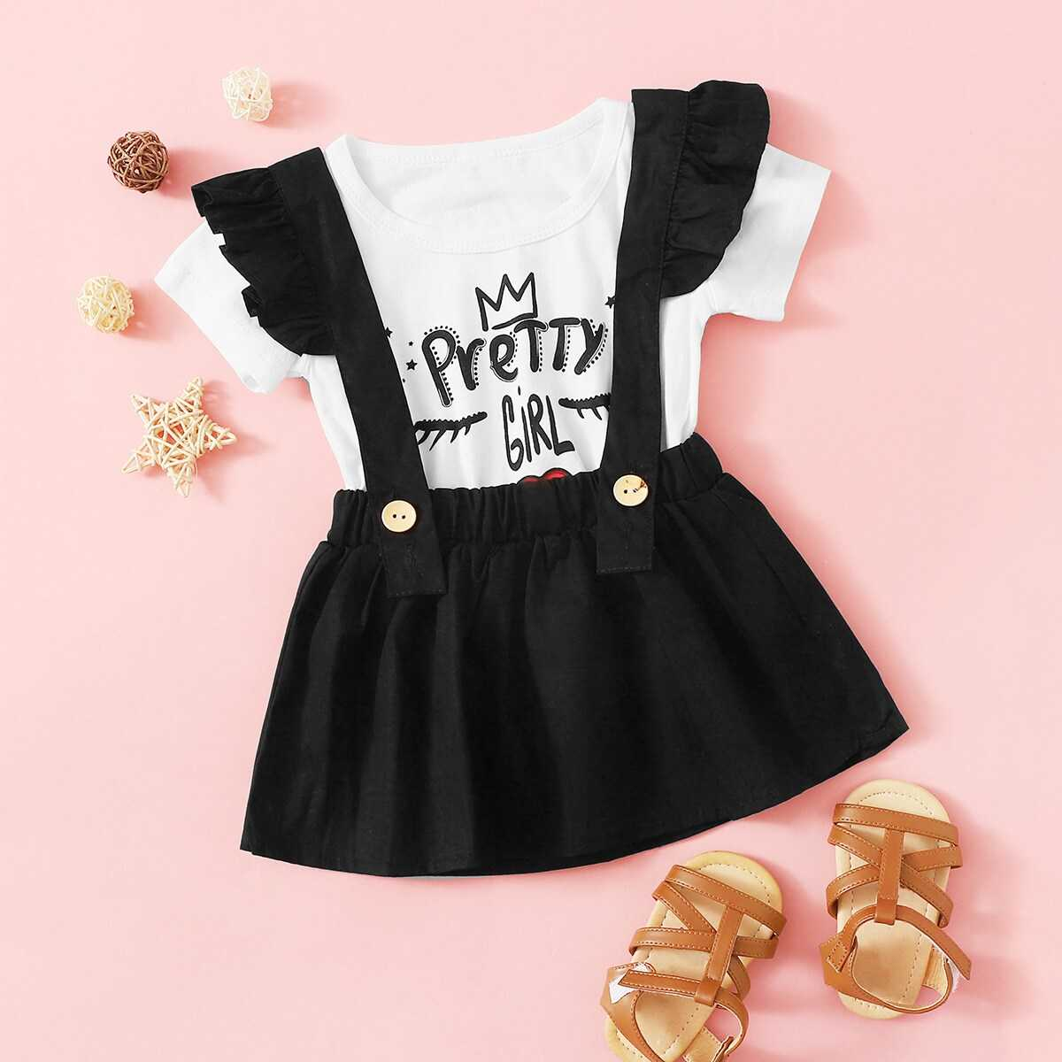 f013cc9148 Toddler Girls Letter Print Tee With Ruffle Straps Skirt - Shein - GOOFASH