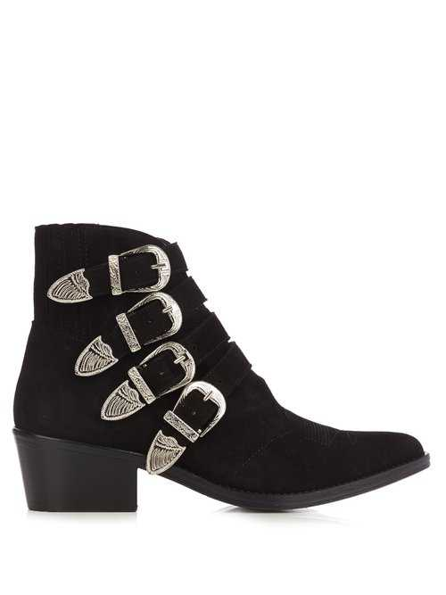 Toga - Buckle Suede Ankle Boots - Black Black - Matches Fashion - GOOFASH