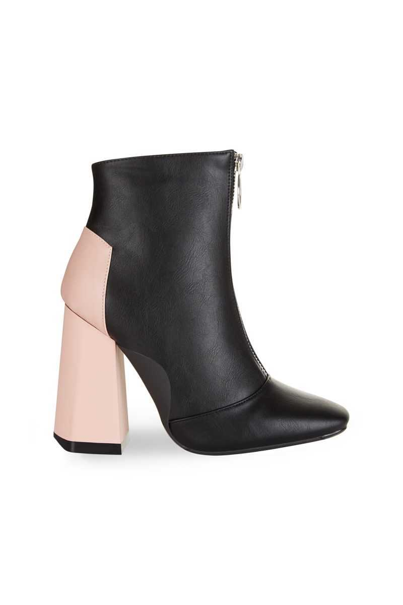 Truffle Collection Black Zip Boot With Pink Heel - Black - Own The Look - GOOFASH