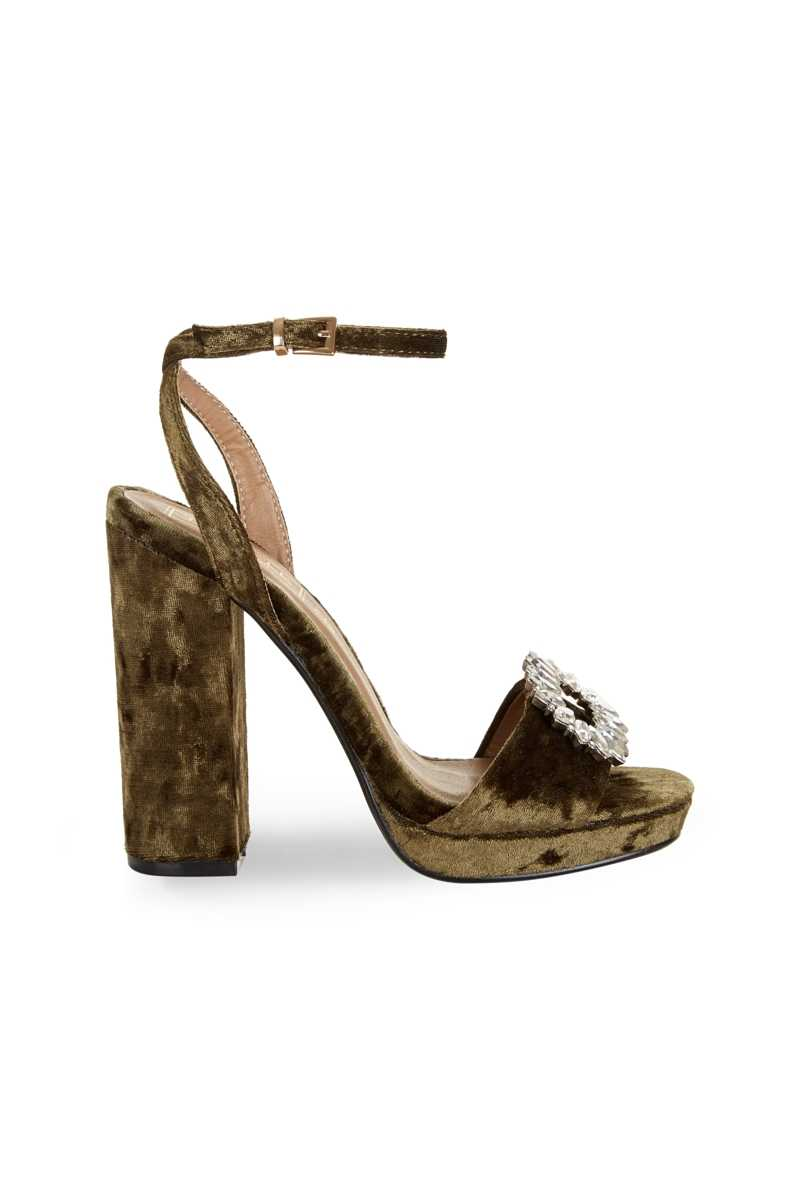 Truffle Collection Velvet Platform With Jewel Toe - Own The Look - GOOFASH