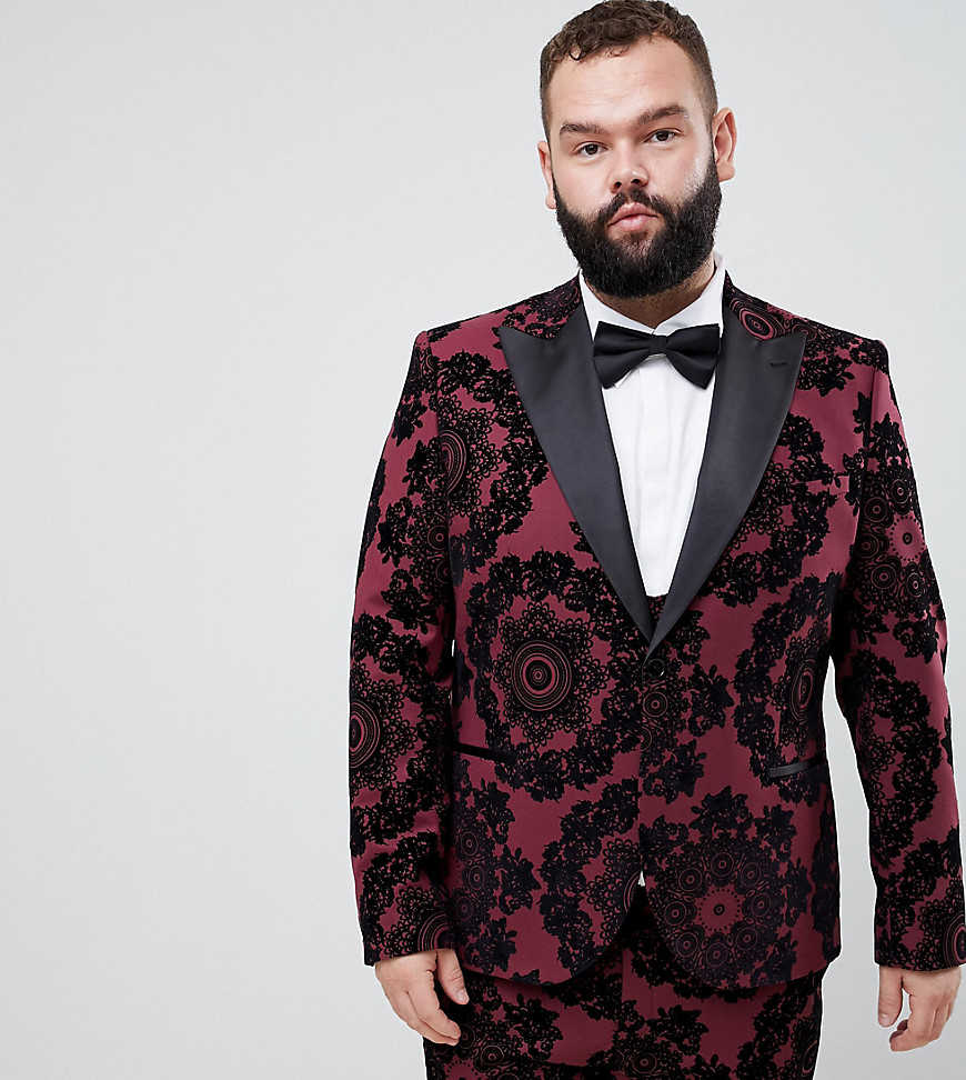 Twisted Tailor super skinny suit jacket with wide lapel and flocking - Red - Asos - GOOFASH