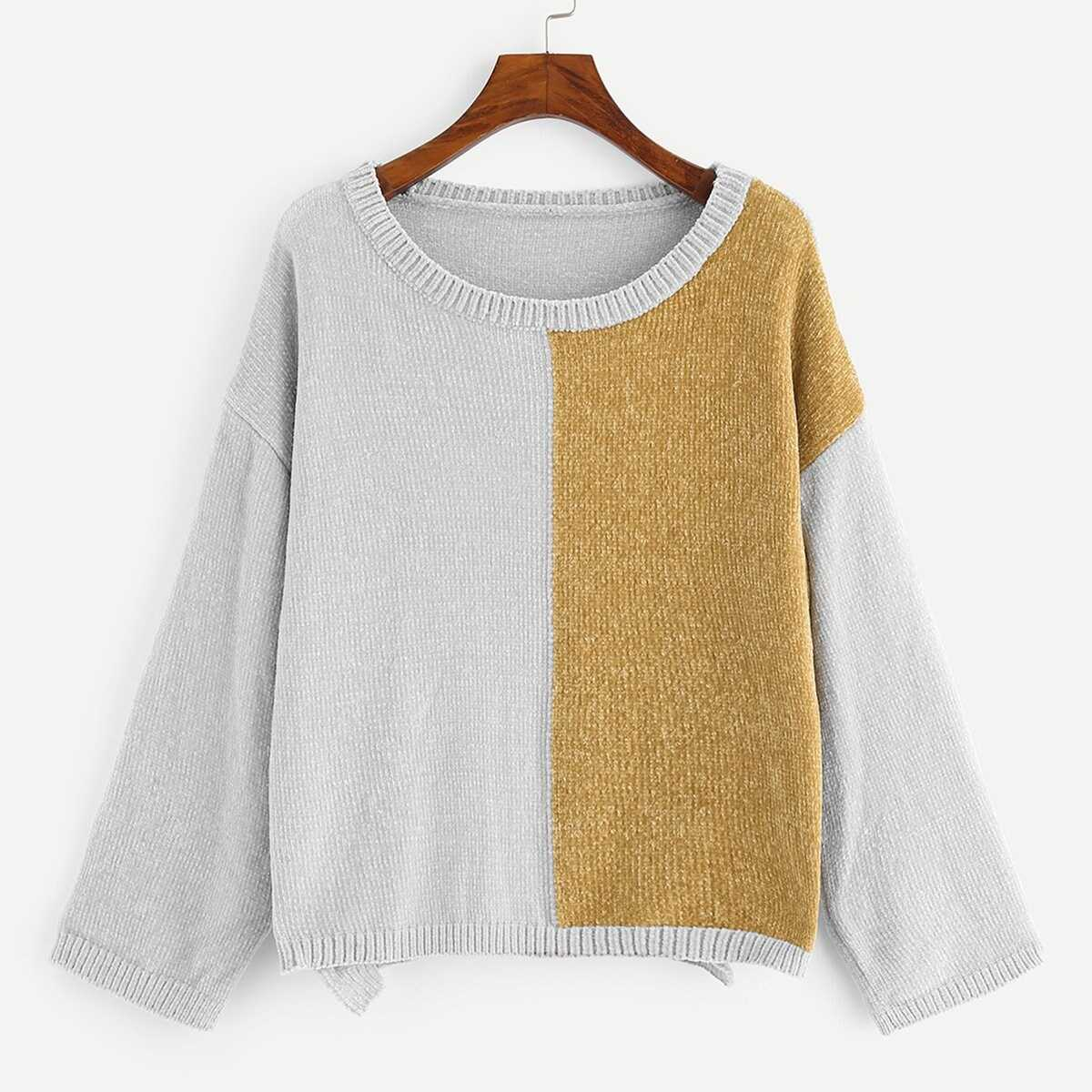 41ebe694d15c Two Tone Drop Shoulder Sweater Shein | GOOFASH SHOP