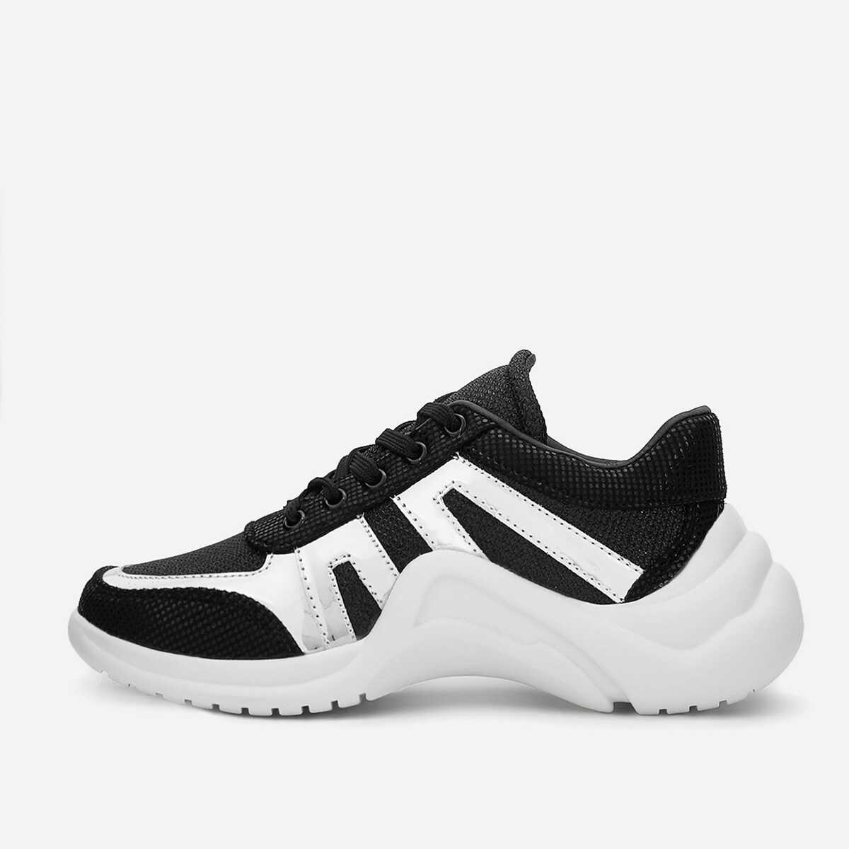 Two Tone Lace-up Chunky Sneakers - Shein - GOOFASH