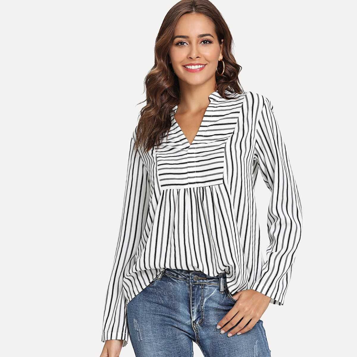 V Neck Striped Print Blouse - Shein - GOOFASH