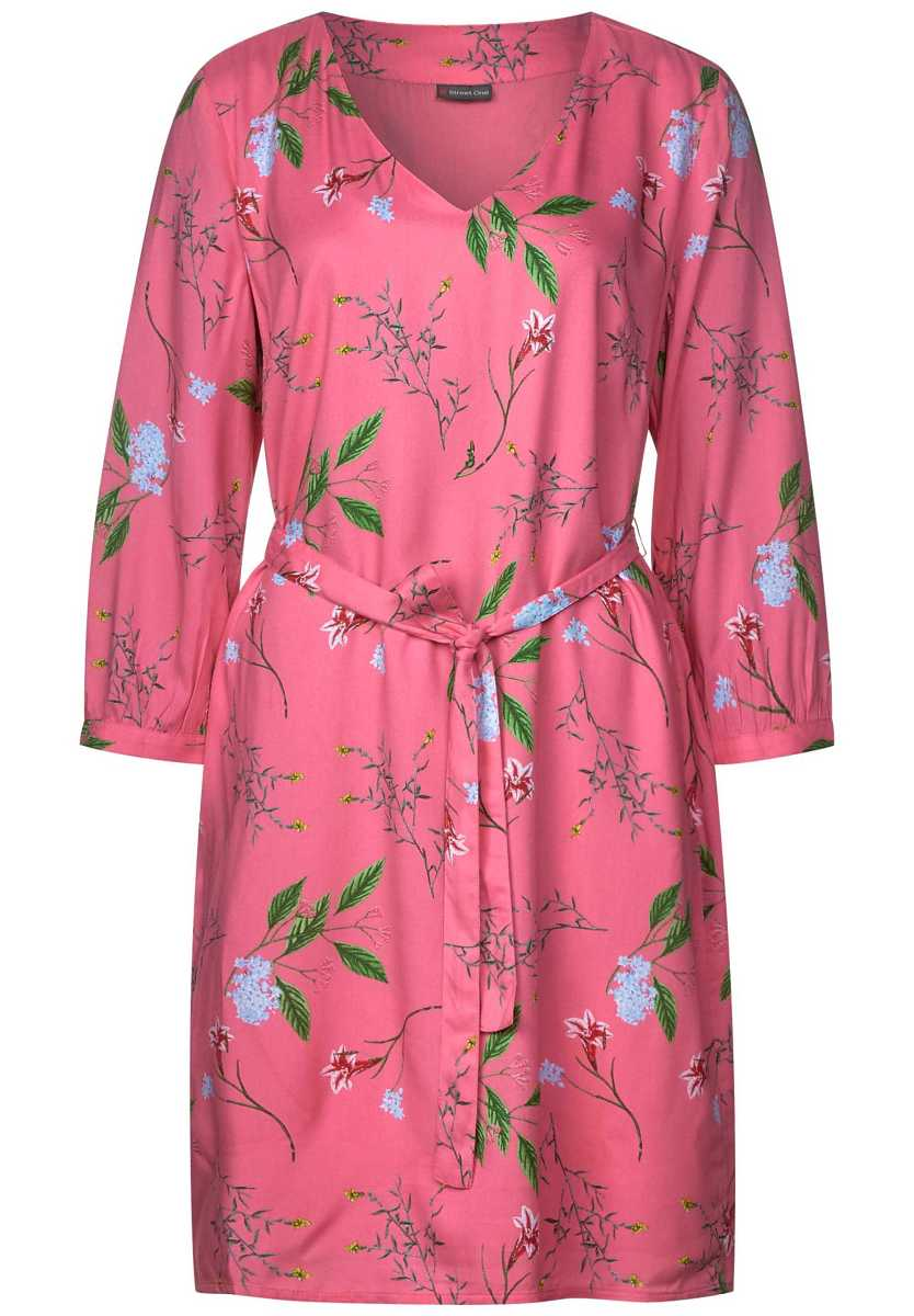 V-neck dress with floral print - blossom pink - Street One - GOOFASH