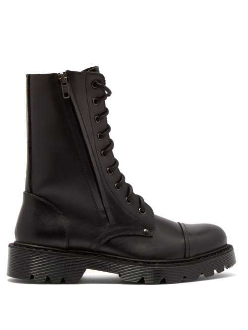 Vetements - Leather Combat Boots - Black Black - Matches Fashion - GOOFASH