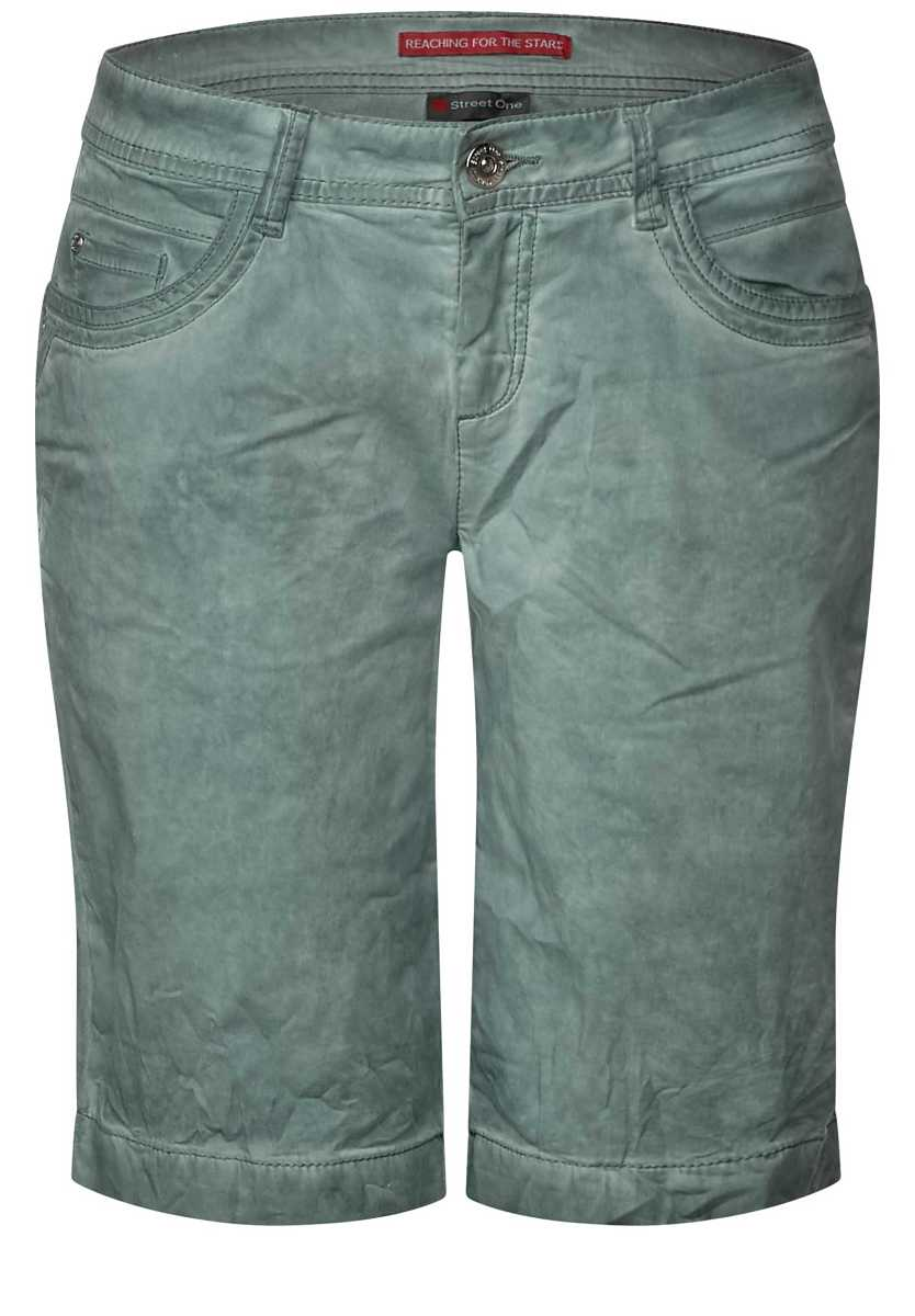 Vintage wash Bermuda Crissi - chilled green washed - Street One - GOOFASH