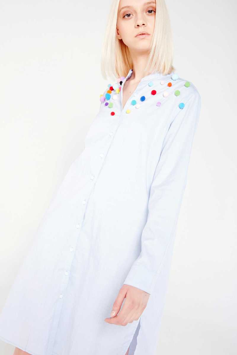 WD7 Longline Shirt Dress With Pom Poms - Own The Look - GOOFASH
