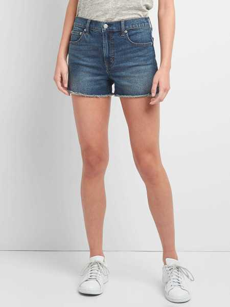 "Washwell High Rise 3"" Denim Shorts Medium Destroy - Gap - GOOFASH"