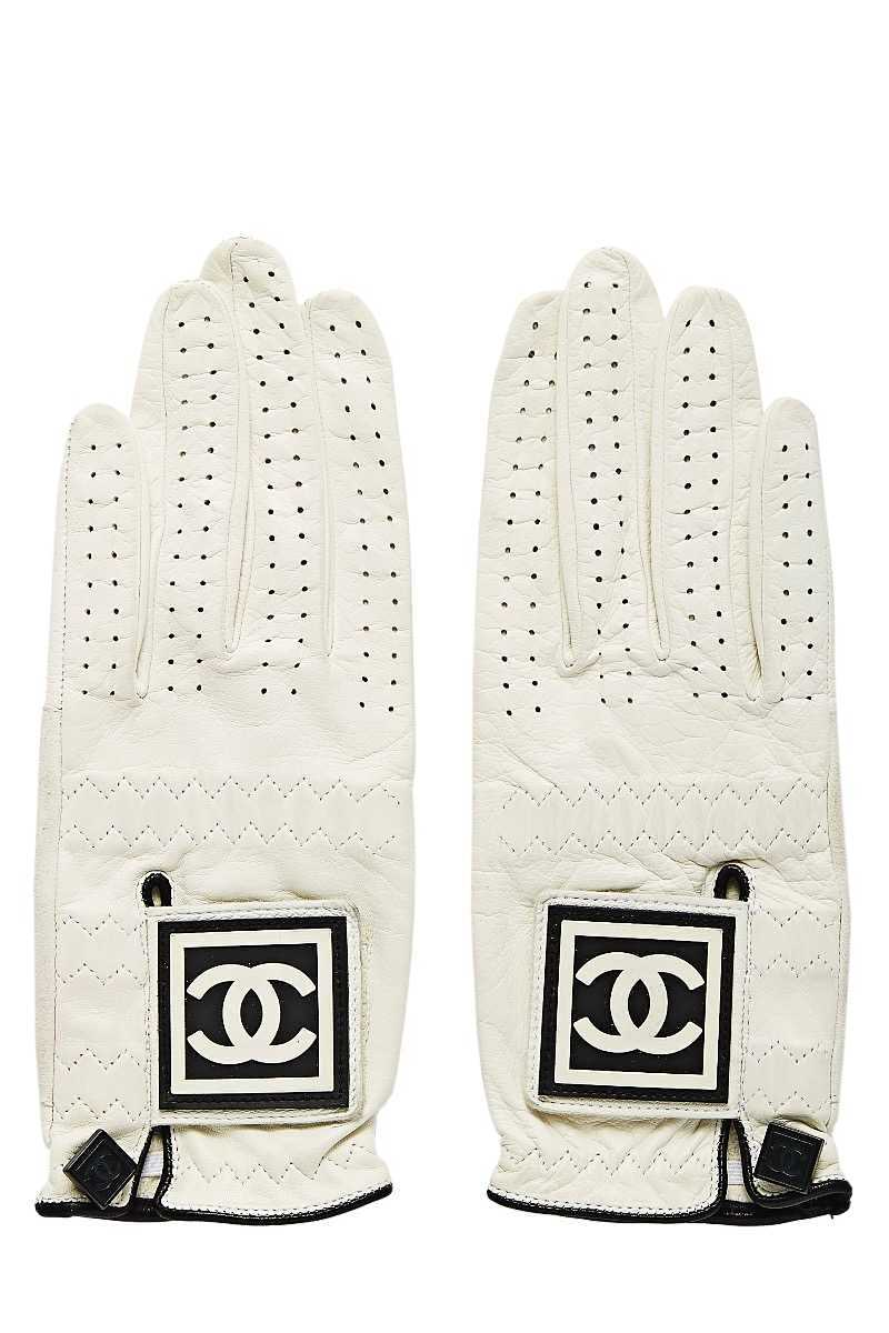 White Leather Perforated Gloves - What Goes Around Comes Around - GOOFASH