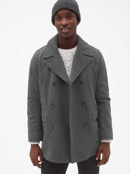 Wool-Blend Peacoat Grey - Gap - GOOFASH