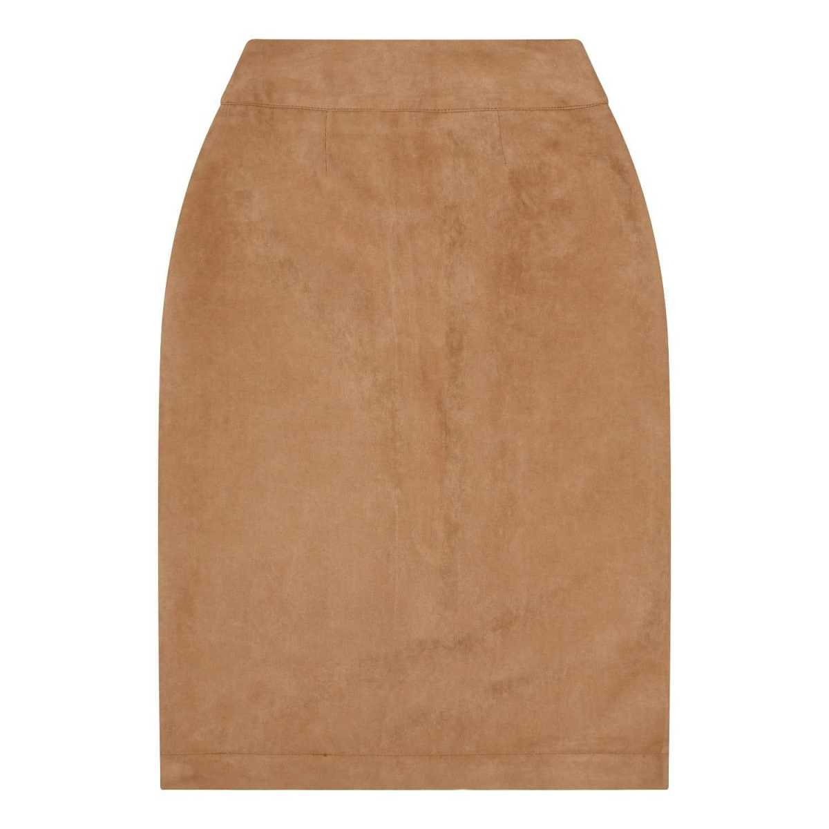 Zalinah White - Alexa Suedette Pencil Skirt In Tan - Wolf And Badger - GOOFASH