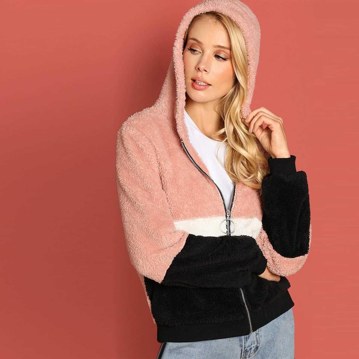 7aaabe3a74cc Zip Up Hooded Color-Block Teddy Jacket Shein | GOOFASH SHOP