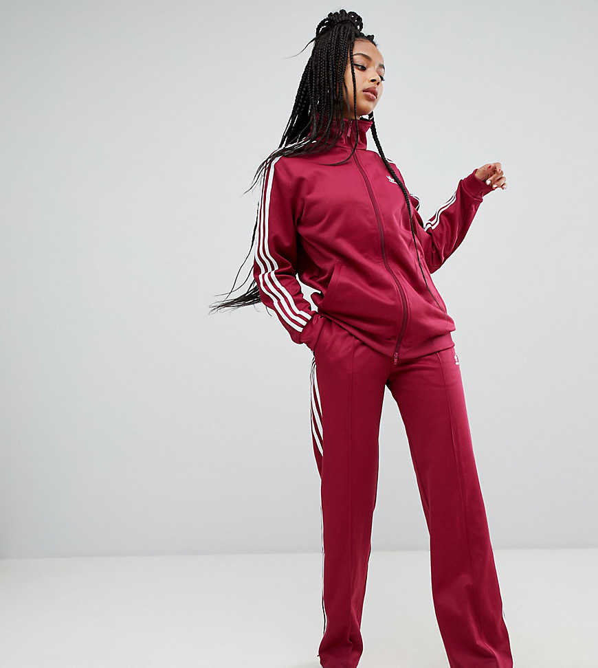 adidas Originals Three Stripe Wide Leg Track Pants In Ruby - Red - Asos - GOOFASH
