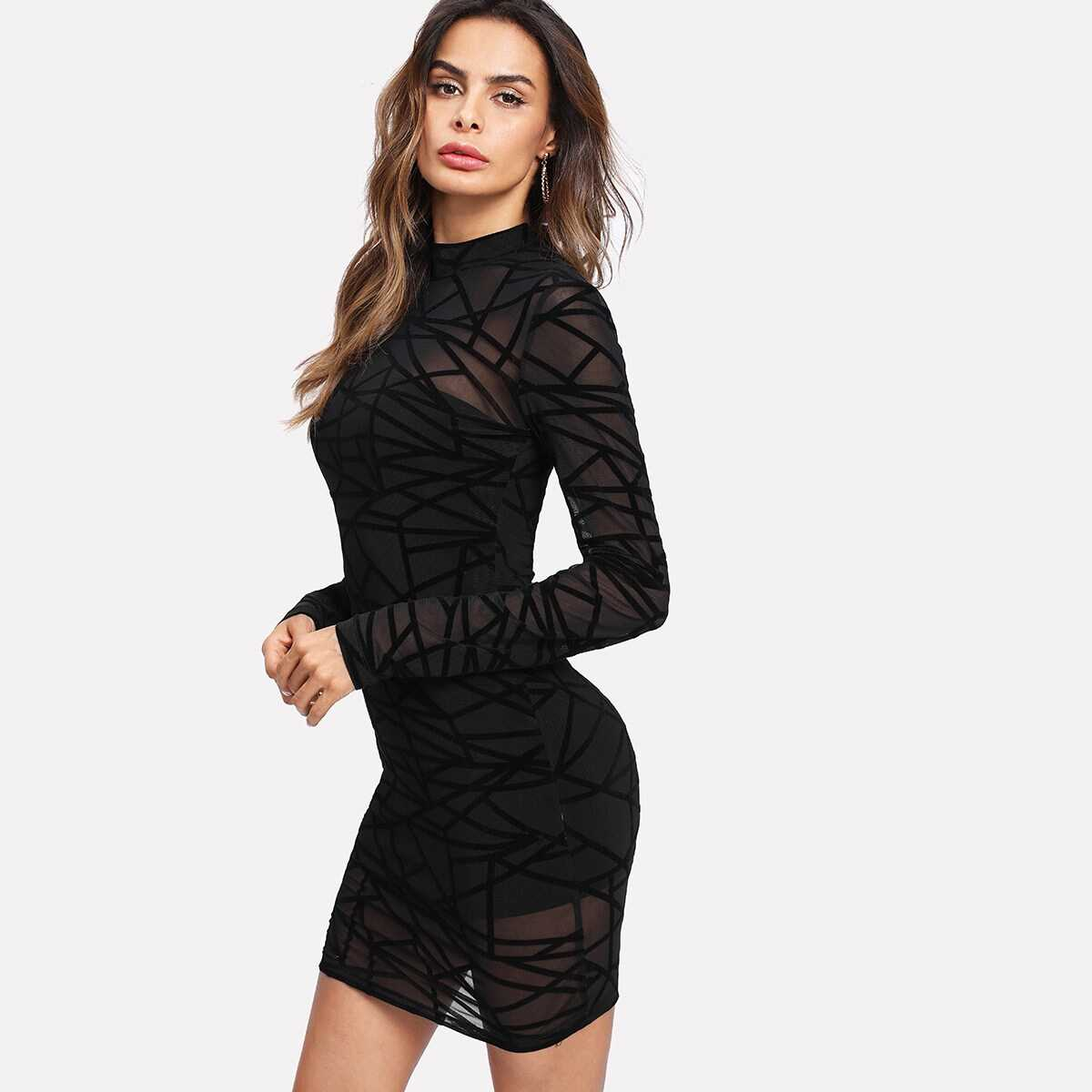 2 In 1 Geo Mesh Overlay Bodycon Dress - Shein - GOOFASH