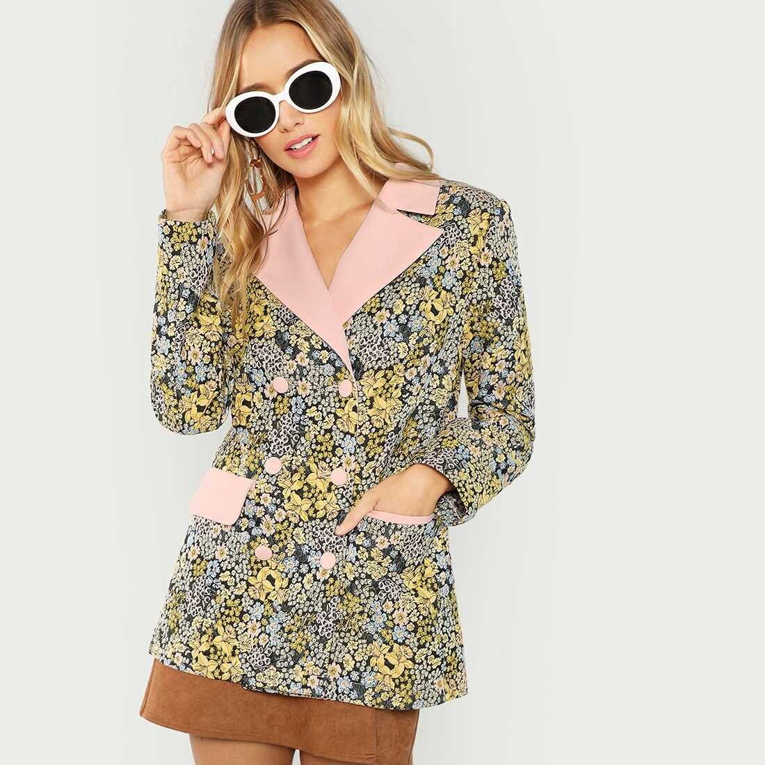 Allover Botanical Embroidered Double Breasted Blazer - Shein - GOOFASH