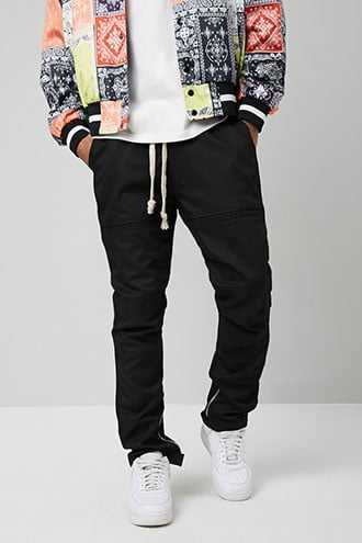 American Stitch Ankle-Zip Drawstring Pants at Forever 21  Black - GOOFASH