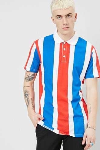 American Stitch Colorblock Polo at Forever 21  Blue/red - GOOFASH