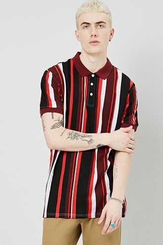 American Stitch Colorblock Polo at Forever 21  Red/black - GOOFASH