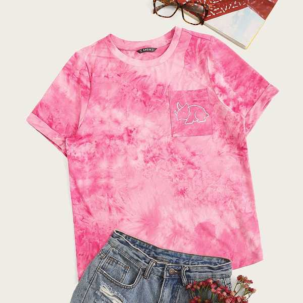 Animal Pocket Patched Tie Dye Tee - Shein - GOOFASH