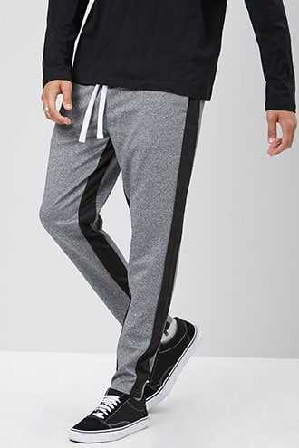 Ankle-Zip Striped-Trim Pants at Forever 21  Grey/black - GOOFASH