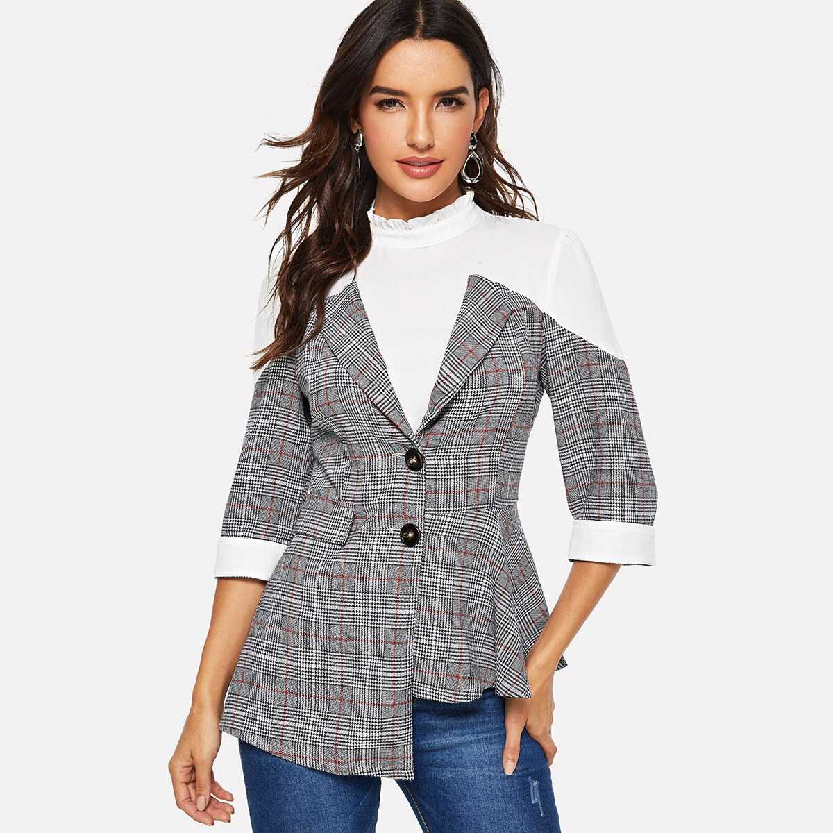 Asymmetrical Hem Button Plaid Frill Neck Blazer - Shein - GOOFASH