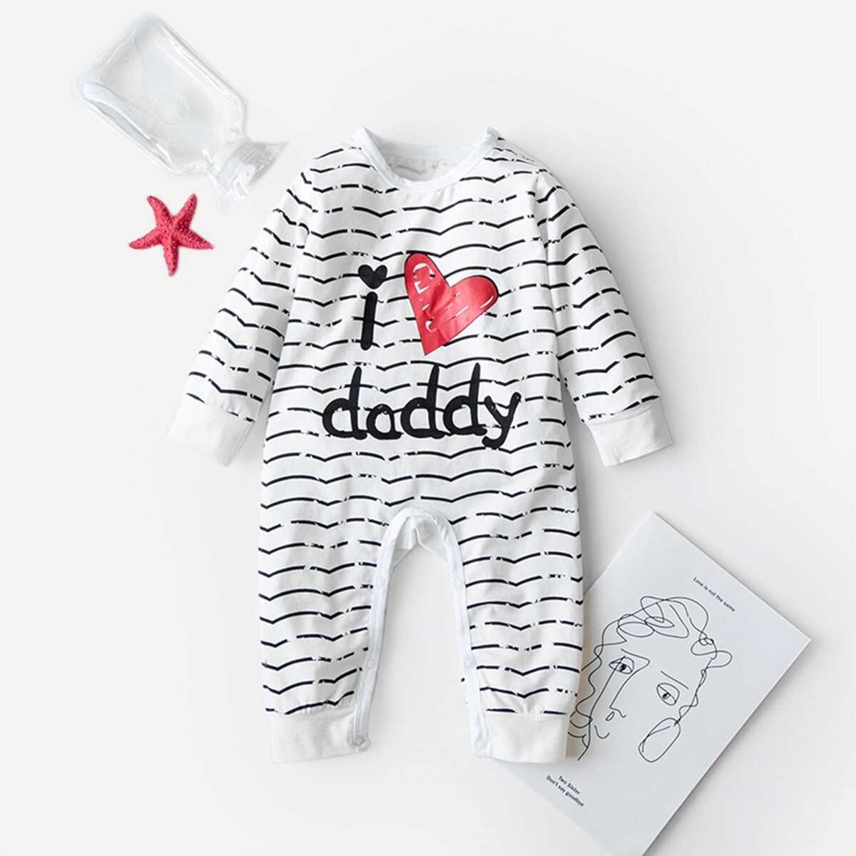 Baby Letter Print Striped Jumpsuit - Shein - GOOFASH
