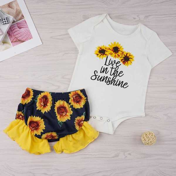 Baby Sunflower & Slogan Print Romper With Ruffle Shorts - Shein - GOOFASH