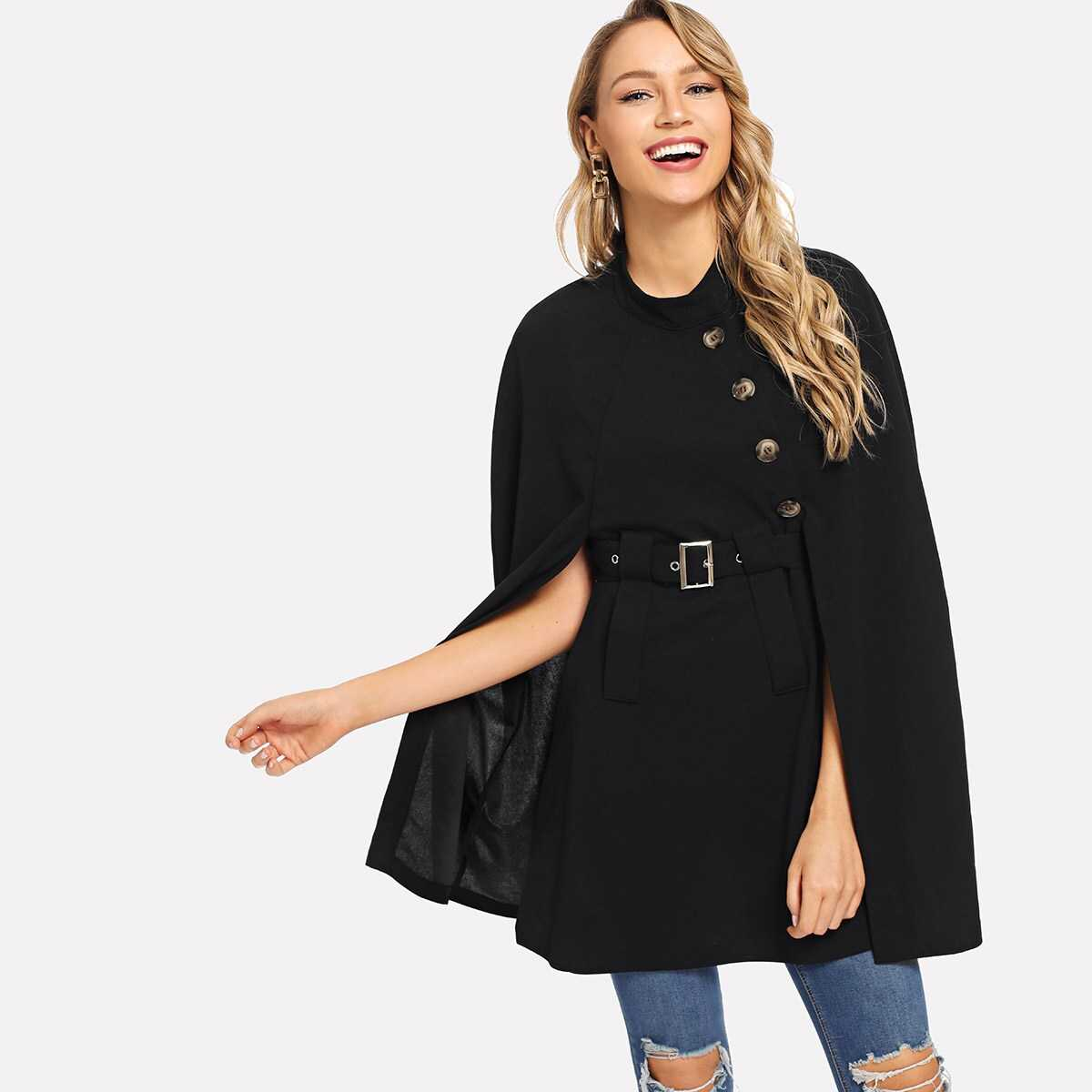 Belted Button Decorated Cape - Shein - GOOFASH
