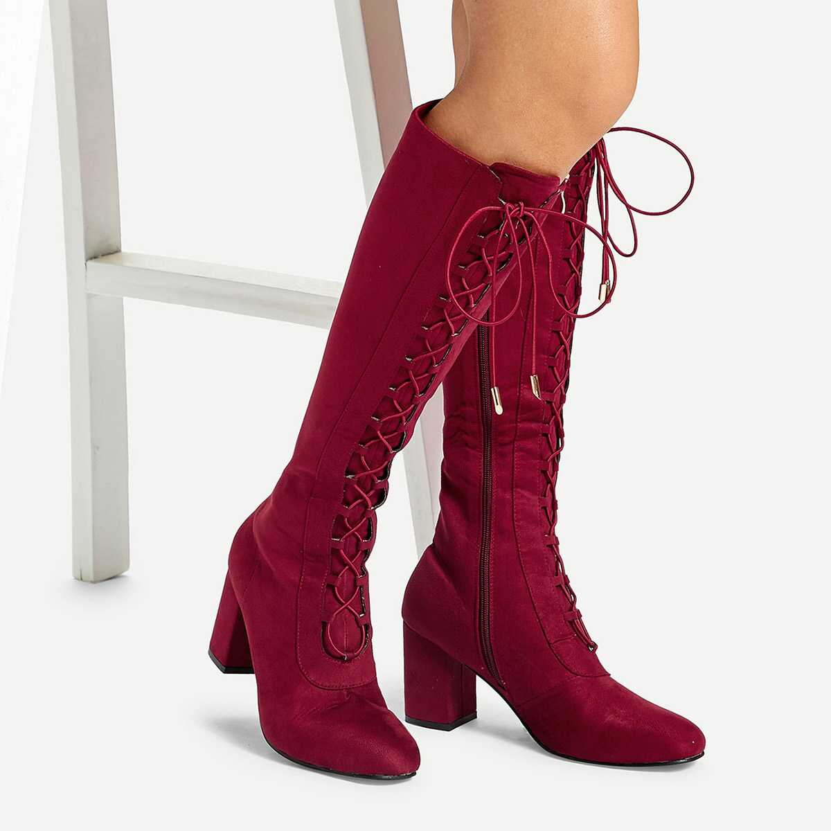 Block Heeled Lace-up Boots - Shein - GOOFASH
