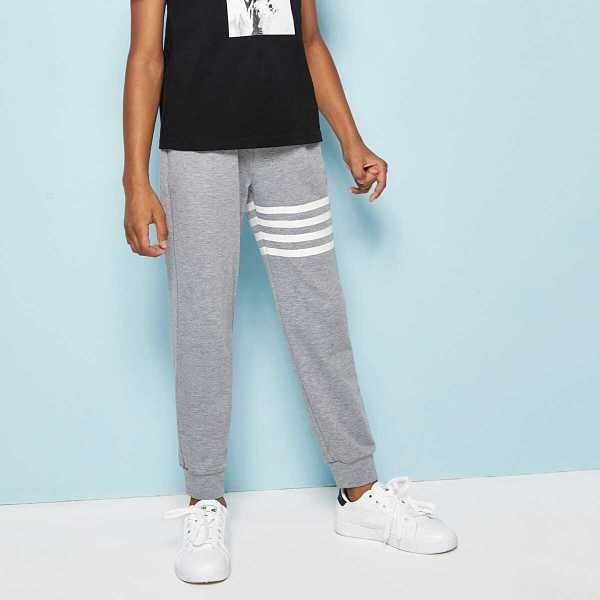 Boys Slant Pocket Striped Heathered Grey Sweatpants - Shein - GOOFASH