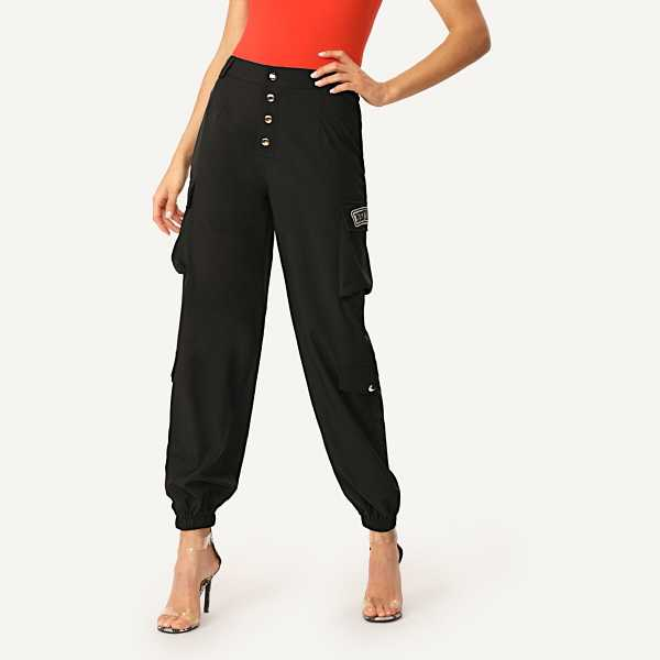 Button Fly Flap Pocket Side Patched Pants - Shein - GOOFASH